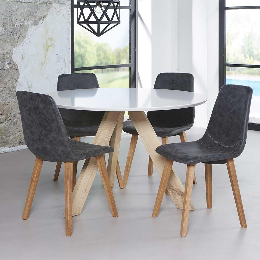 Runder Tisch Nastoria in Wei Eiche Massivholz  Wohnende