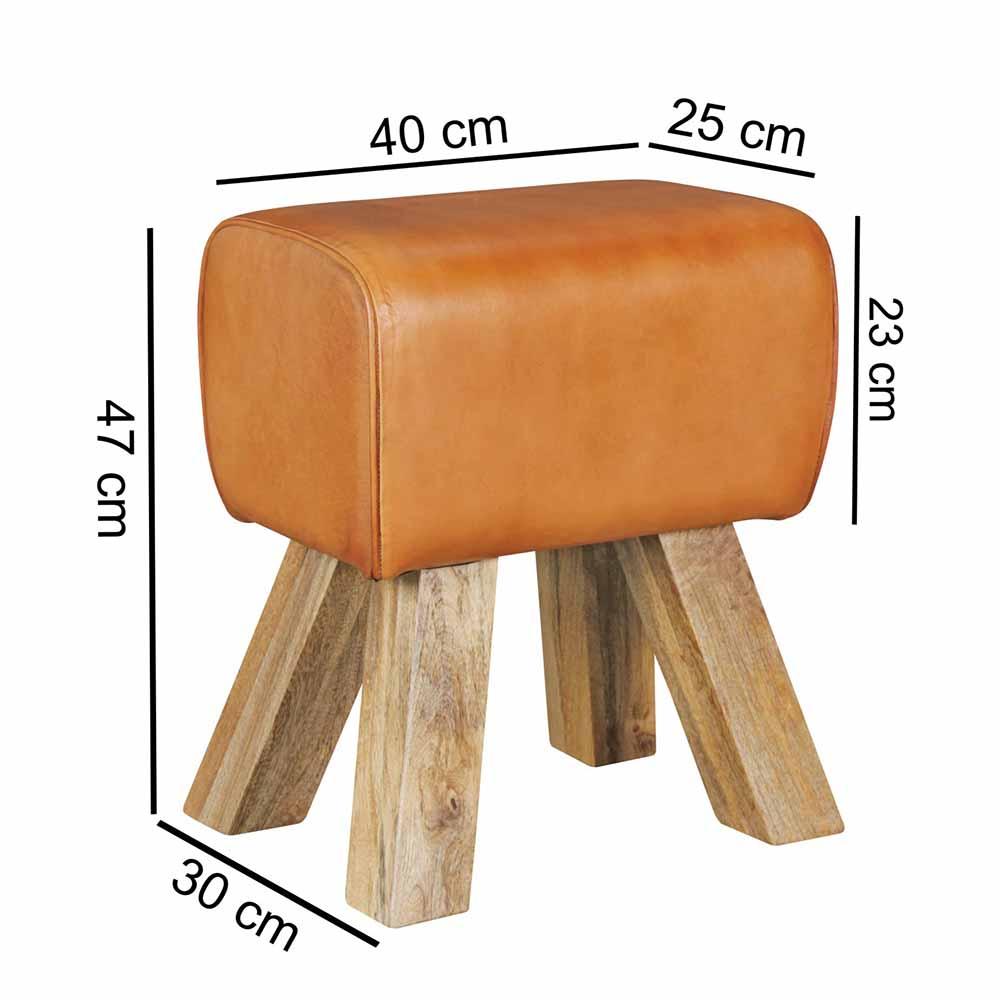 Rustikaler Design Hocker mit Leder  Holz Bicova  Wohnende