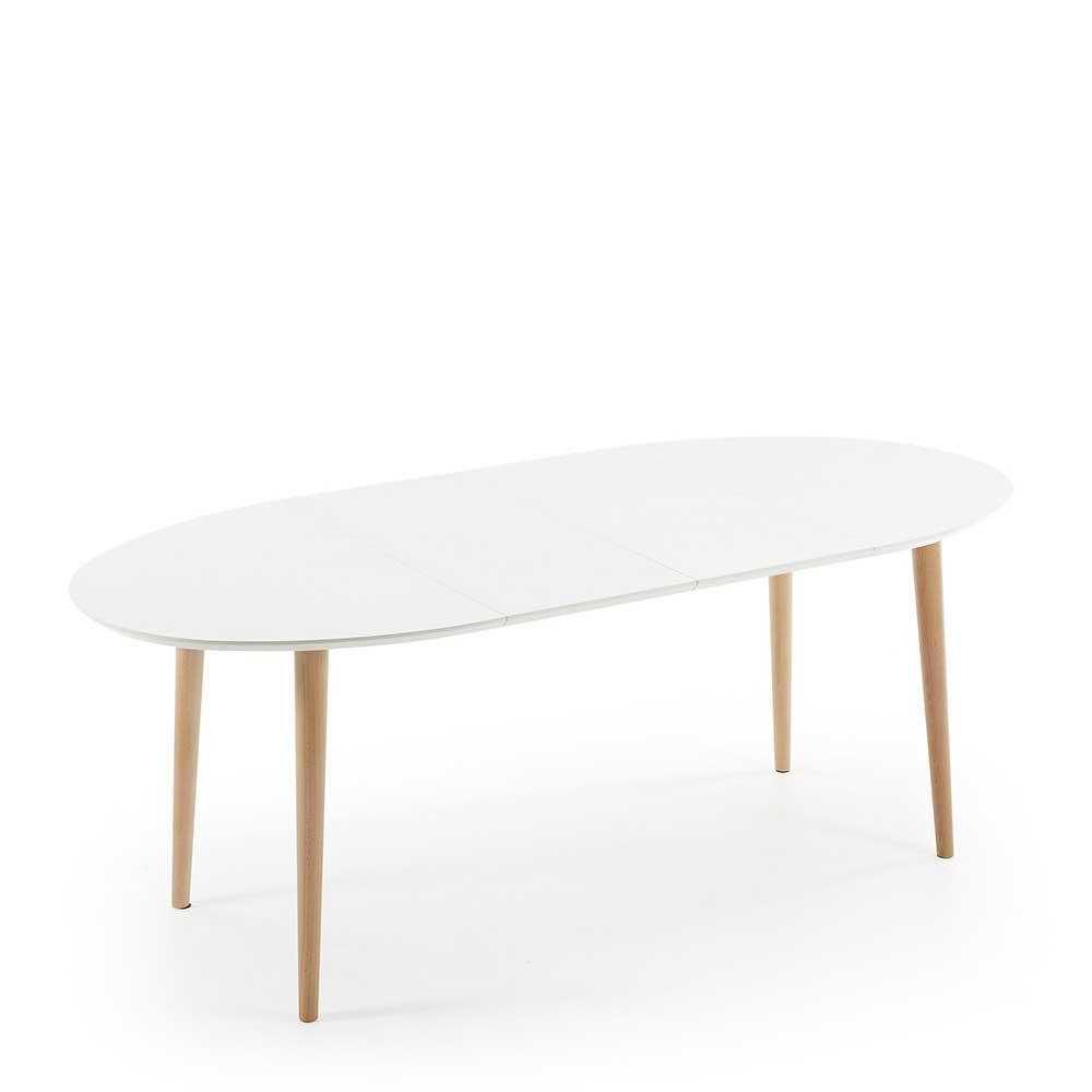 Scandi Esszimmertisch in Weiß Buche ovale Form ausziehbar