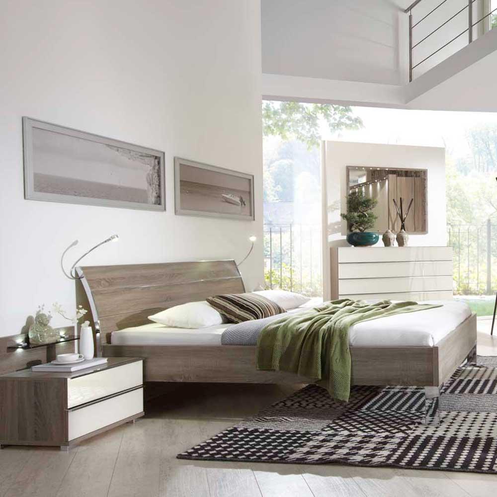 Schlafzimmer Komplettset Crenba in Creme und Eiche Wohnende