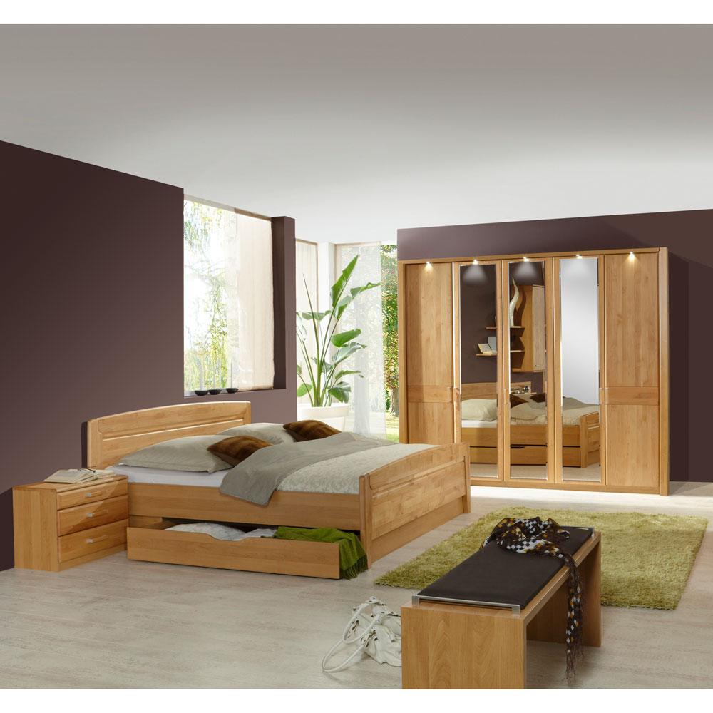 Schlafzimmer Komplettset Bordeaux aus Erle  Wohnende