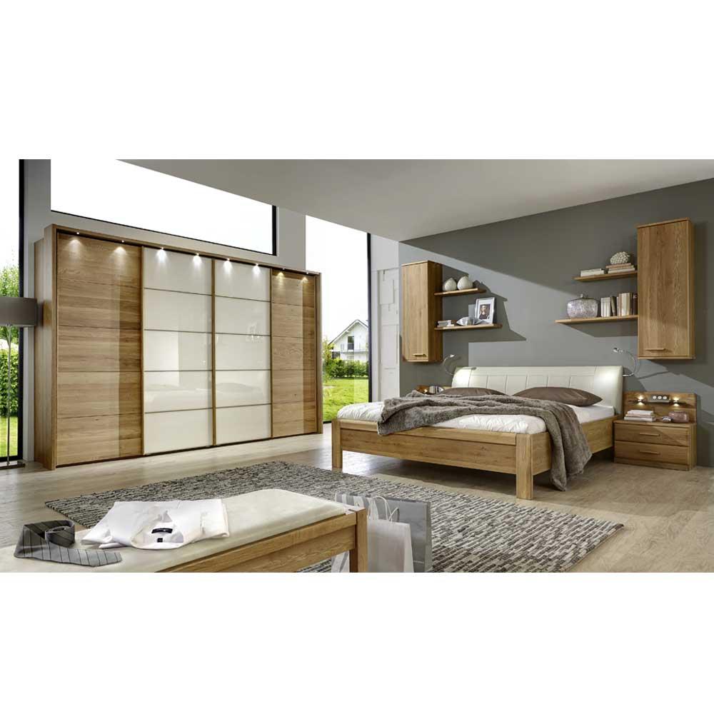 Schlafzimmer Set Waruna in Creme mit Eiche Massivholz