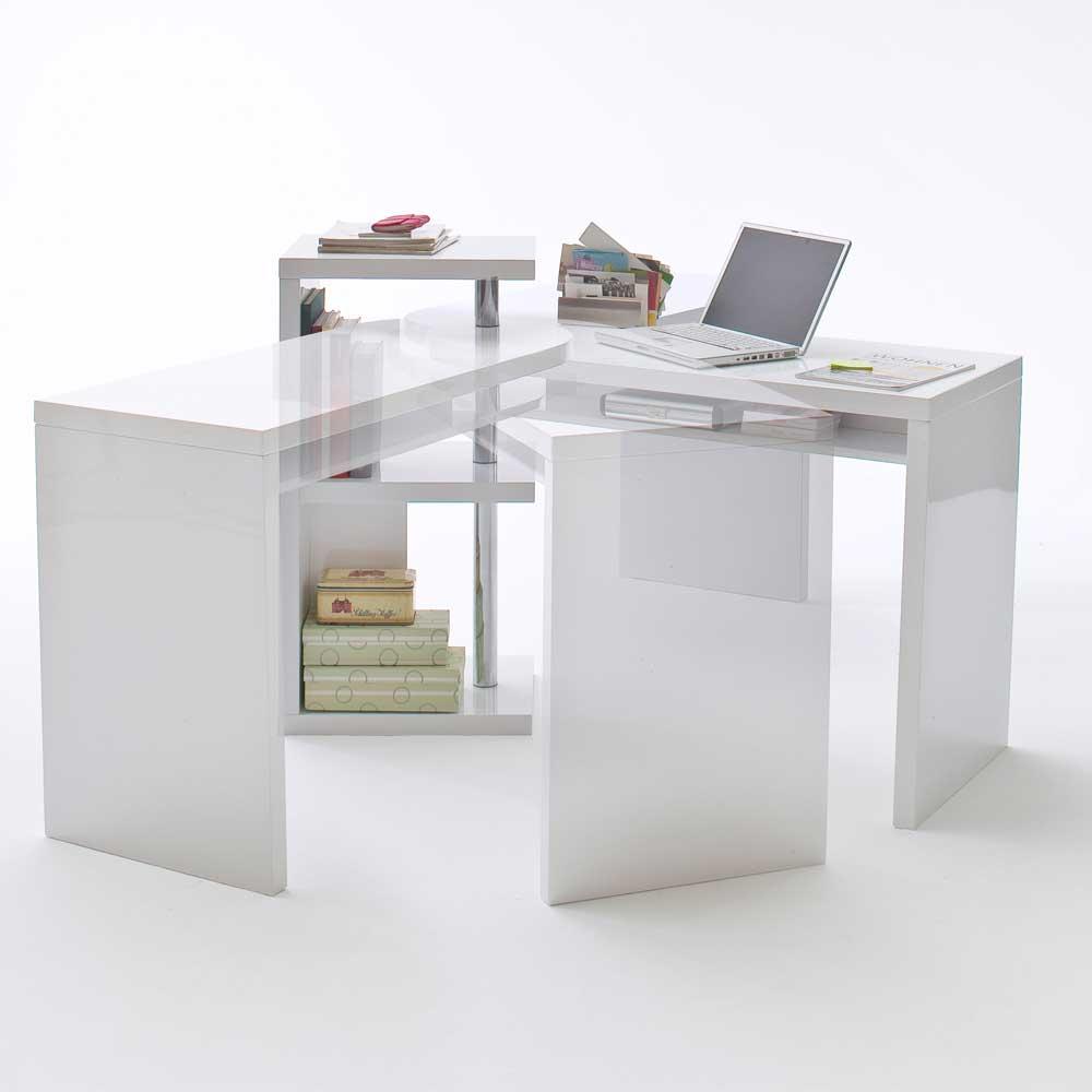 Schreibtisch Mia in Wei Hochglanz mit Regalteil  Wohnende
