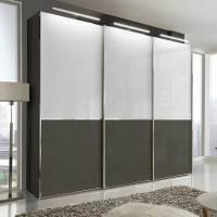 Schwebetüren Kleiderschrank in Braun & Weiß Glas mit 280 ...