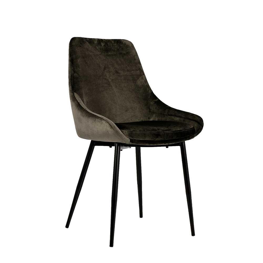 Stuhl mit Samt Schlammgrau  Metall Schwarz  Flory 2er Set  Wohnende