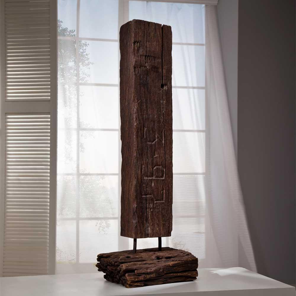 Teakholz Skulptur Fulvios aus Bahnschwelle  Wohnende