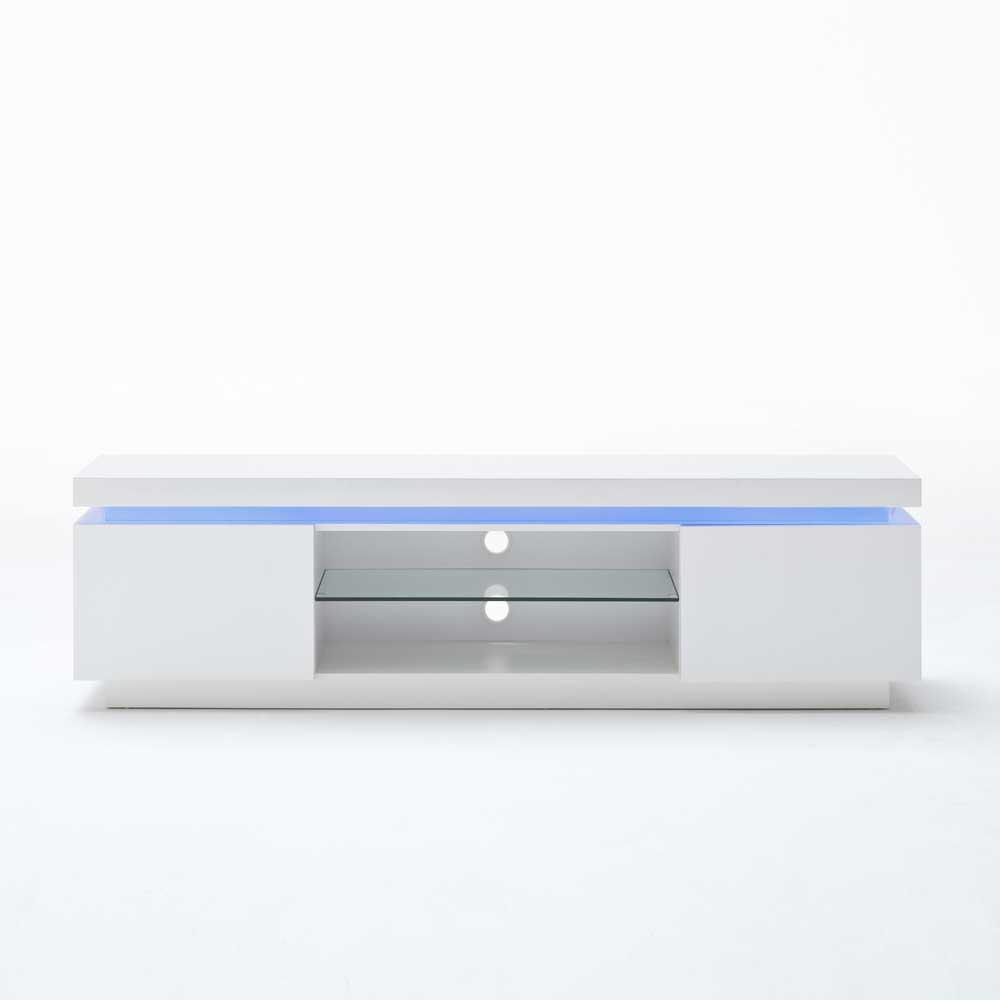 TV Tisch Tovic In Hochglanz Wei Mit LED Beleuchtung