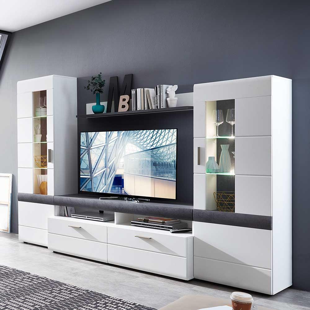 TV Wand Loesia in Wei und Grau  Wohnende