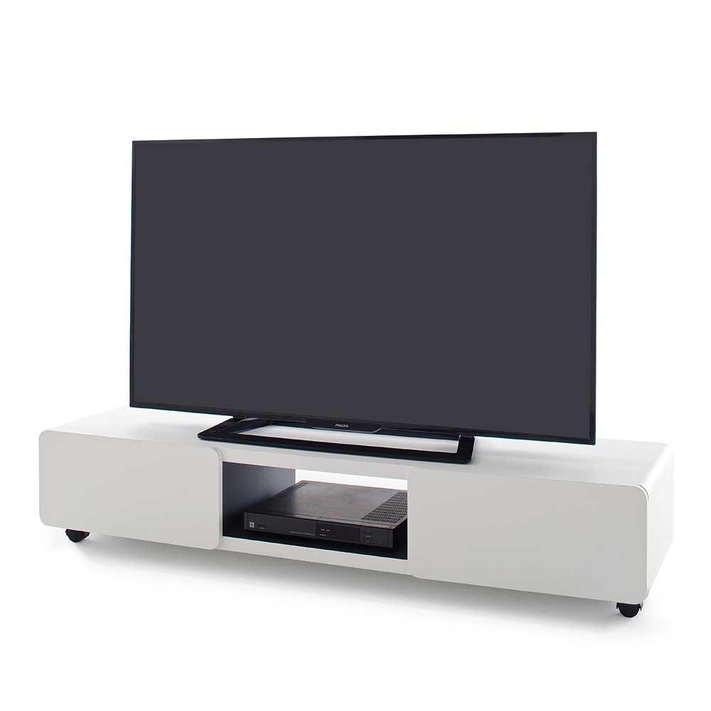 Weies Design TV Board auf Rollen 2trig 140cm breit