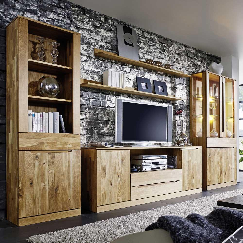 Wohnzimmer Wohnwand Natrius aus Wildeiche Massivholz