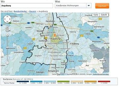 Immobilien in Augsburg  Immobilienpreise 2016