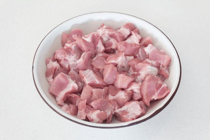 Cut up pork spare ribs on a dish