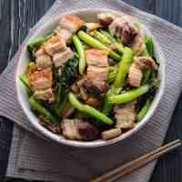 Crispy Pork Belly Stir Fried with Asian Greens