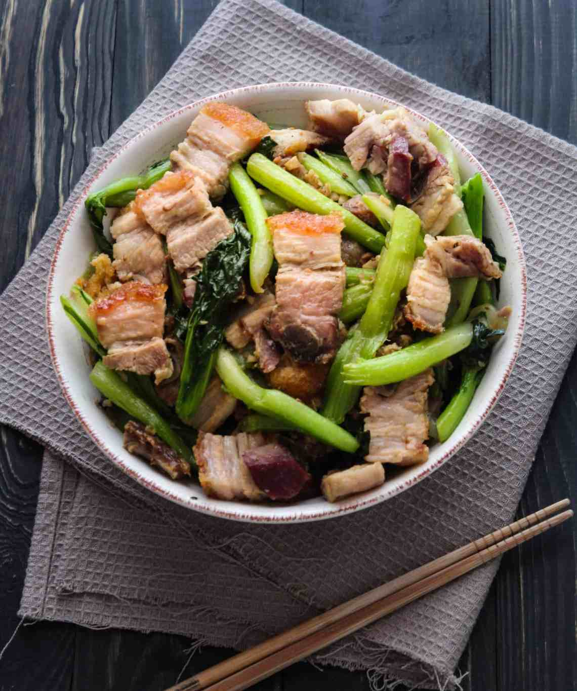 Crispy Pork Belly Stir Fried with Asian Greens - Wok and Kin