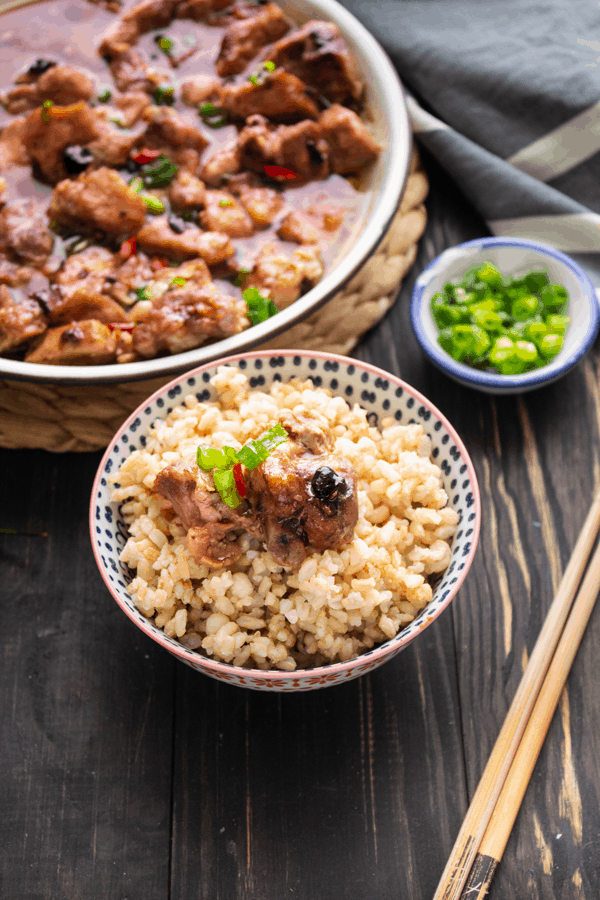 Steamed Pork Spare Ribs in Black Bean Sauce in a bowl of rice