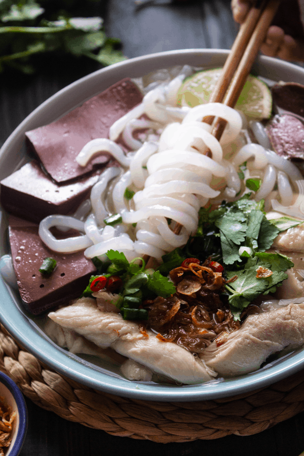 Vietnamese Chicken Tapioca Noodle Soup (Bánh Canh Gà) in a bowl