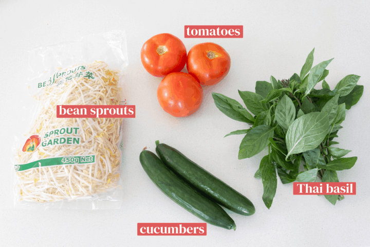 Bean sprouts, tomatoes, cucumbers and Thai basil