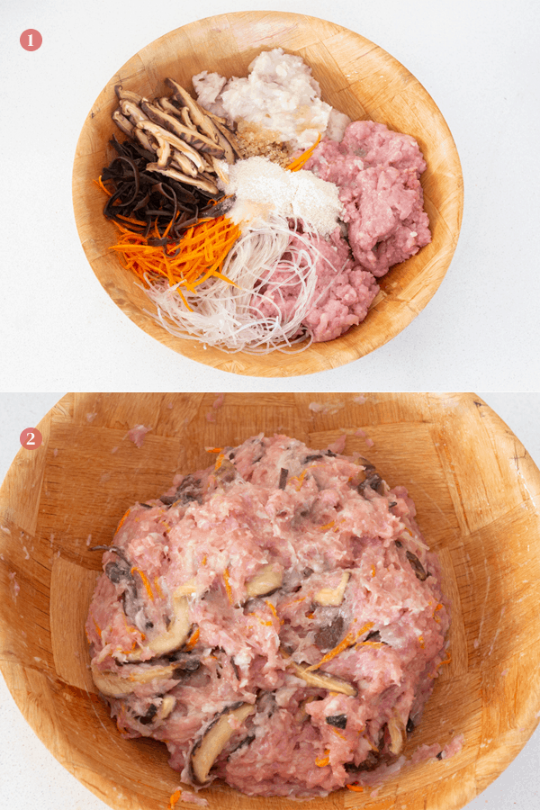 Mixed mince with carrot, black fungus, vermicelli, mushrooms, fish paste and seasoning