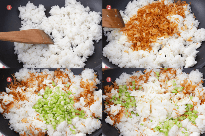 Fried rice being cooked in a wok