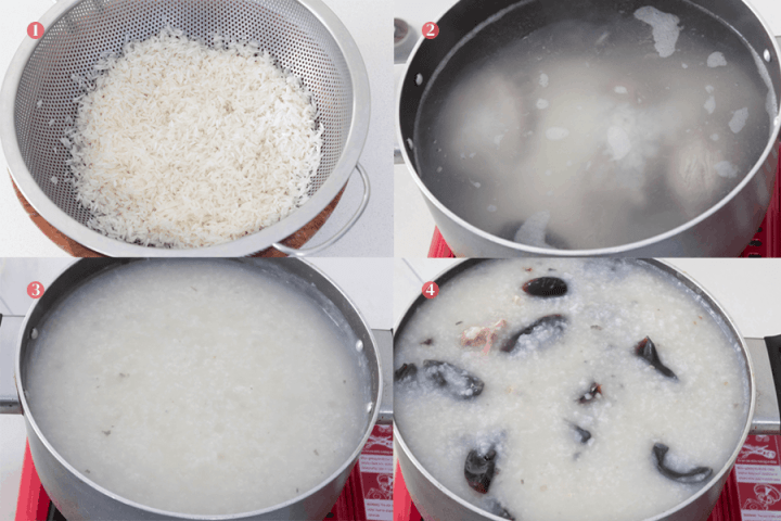 Century egg congee in a pot