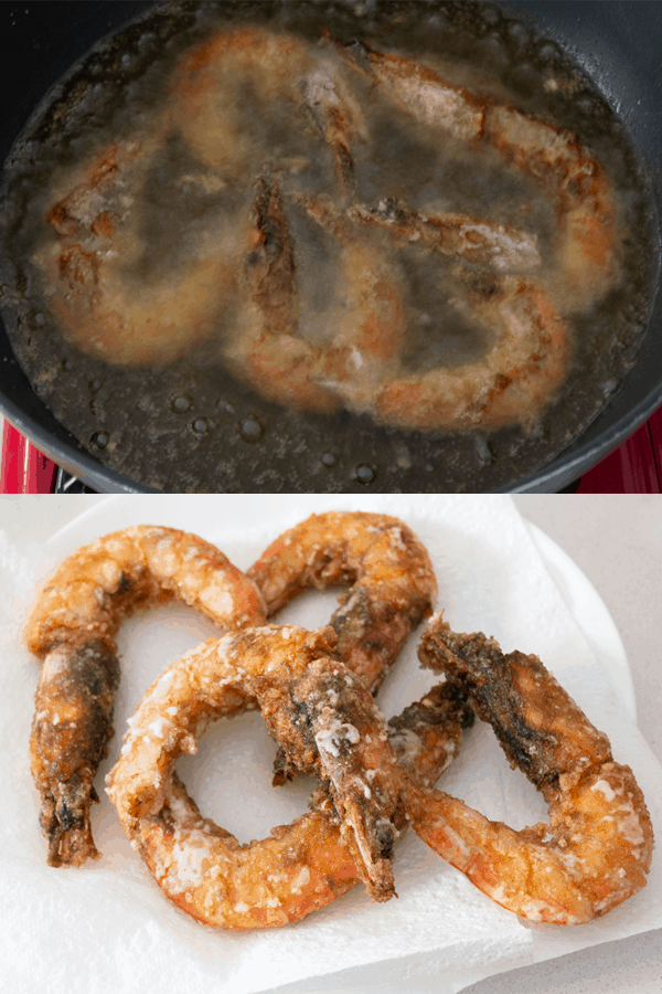 Prawns frying in oil then on a paper towel on a plate