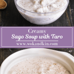 Sago soup with taro in it along with a pot of sago soup