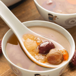 Hashima Dessert Soup in bowls with a spoon in it