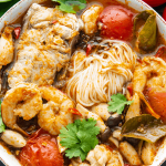 Tom Yum Noodle Soup in a bowl