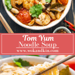 Tom Yum Noodle Soup on a bowl above a bowl of Tom Yum Noodles Soup with chopsticks lifting the noodles