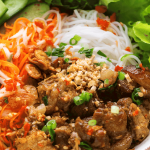 A close up of Bun Thit Nuong in a bowl