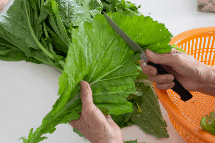 Hands using a small knife to cut parts of the jook choy leaves