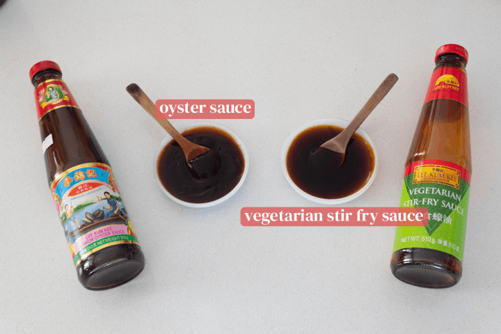 Dishes of oyster and vegetarian stir fry sauce along with their bottles.