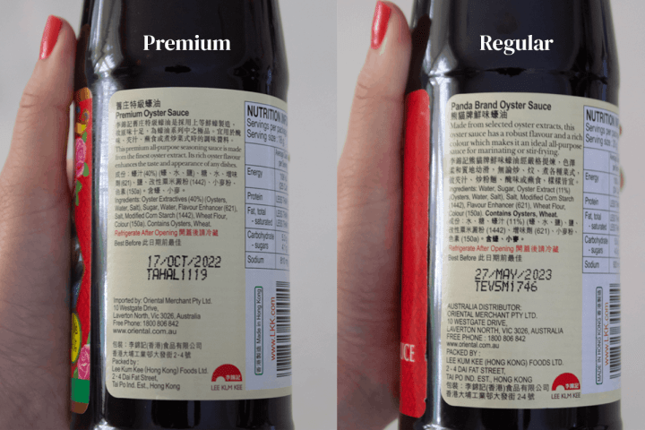 A close up of premium and regular oyster sauces.