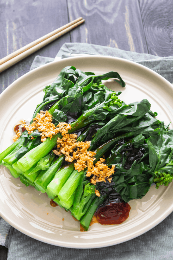 Chinese Broccoli with Oyster Sauce on a plate.