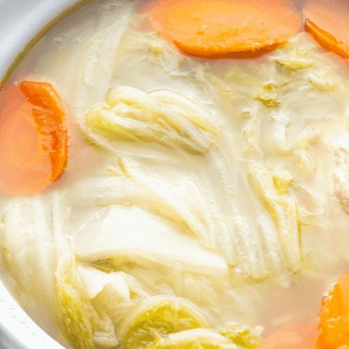 Chinese Cabbage Soup in a pot.