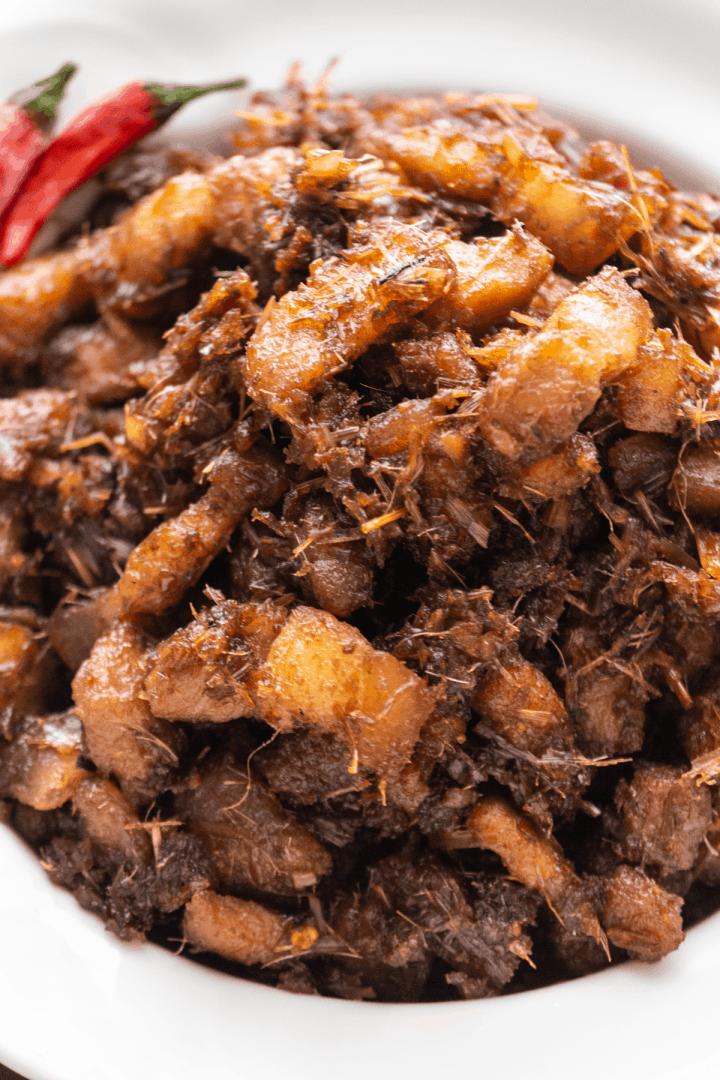 Thịt Kho Mắm Ruốc in a bowl.
