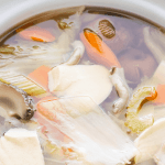 Mushroom and Chinese Cabbage Soup in a pot.