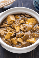 Braised Eggplant with Tofu in a claypot.