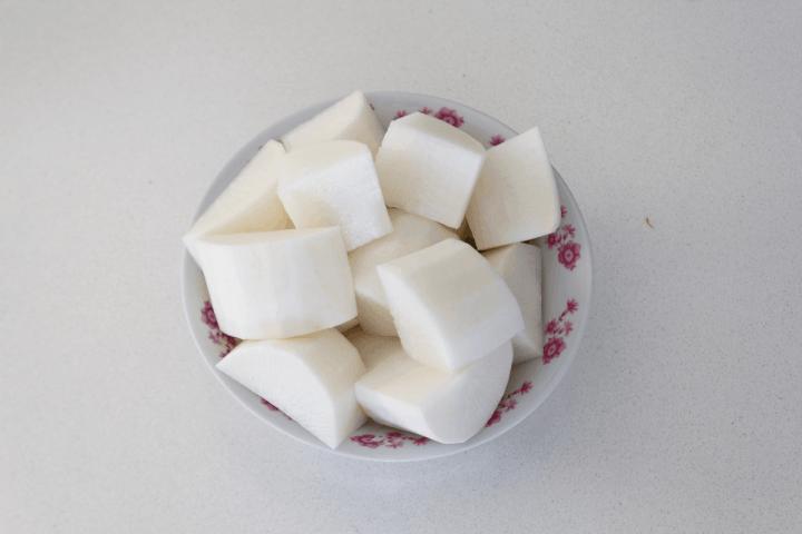 Radish chunks in a bowl.