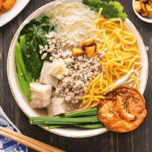 Hokkien Pork Noodle Soup in a bowl.