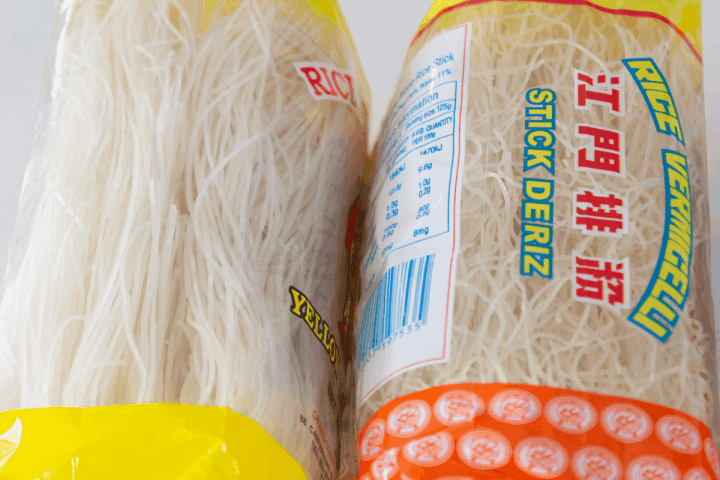 Close up of rice noodles.