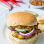 Chicken Satay Burger - Savory marinated chicken satay with spicy peanut sauce...in a burger. No sticks required!
