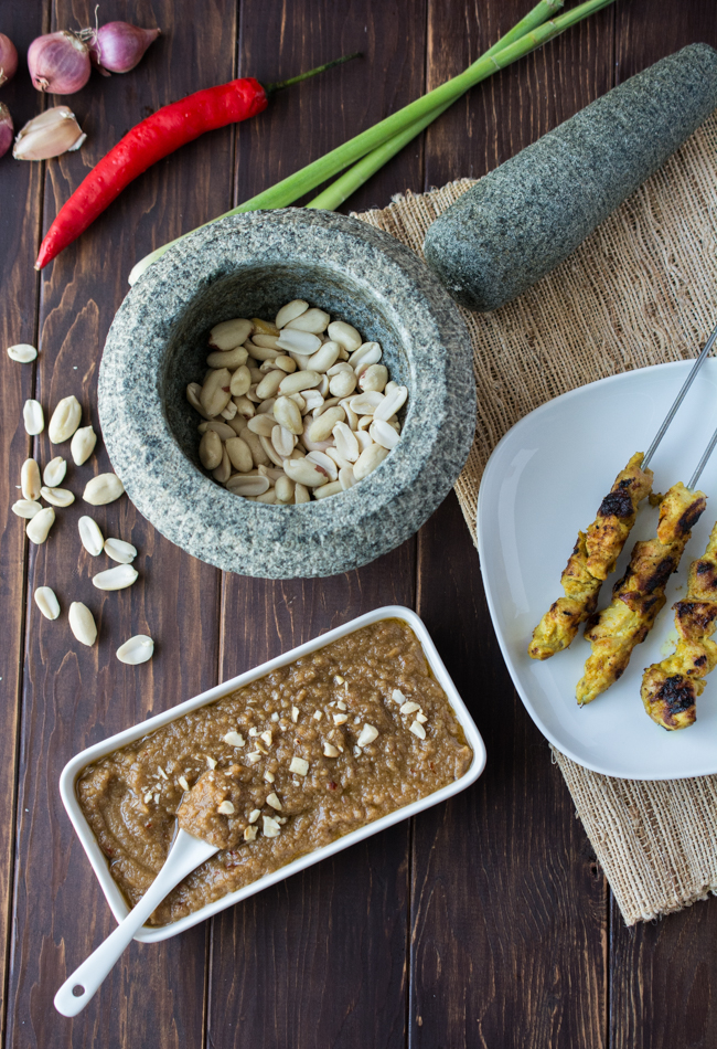 A spicy peanut sauce that pairs with Malaysian style satay.