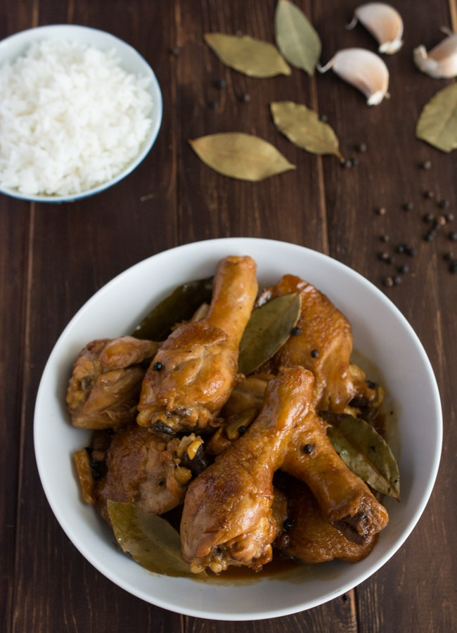 Chicken Adobo is a Filipino classic that has been dubbed the unofficial dish of the Phillippines. A simple blend of soy sauce, garlic, vinegar with bay leaves and whole peppercorns yileds one of the most incredible sauces you have ever tasted.