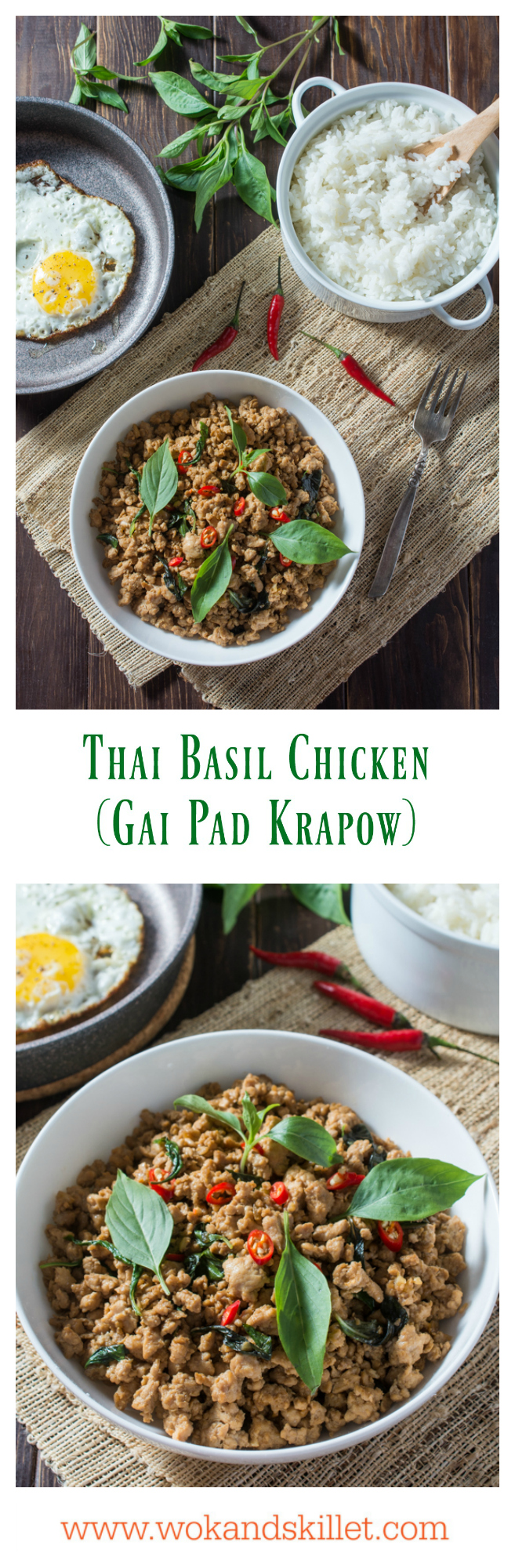 Thai Basil Chicken (Gai Pad Krapow) is a classic Thai stir-fry where the amazing aroma of basil pairs so well with the savory sauce. Serve over steamed jasmine rice and top with a fried egg for the ultimate Thai comfort food.
