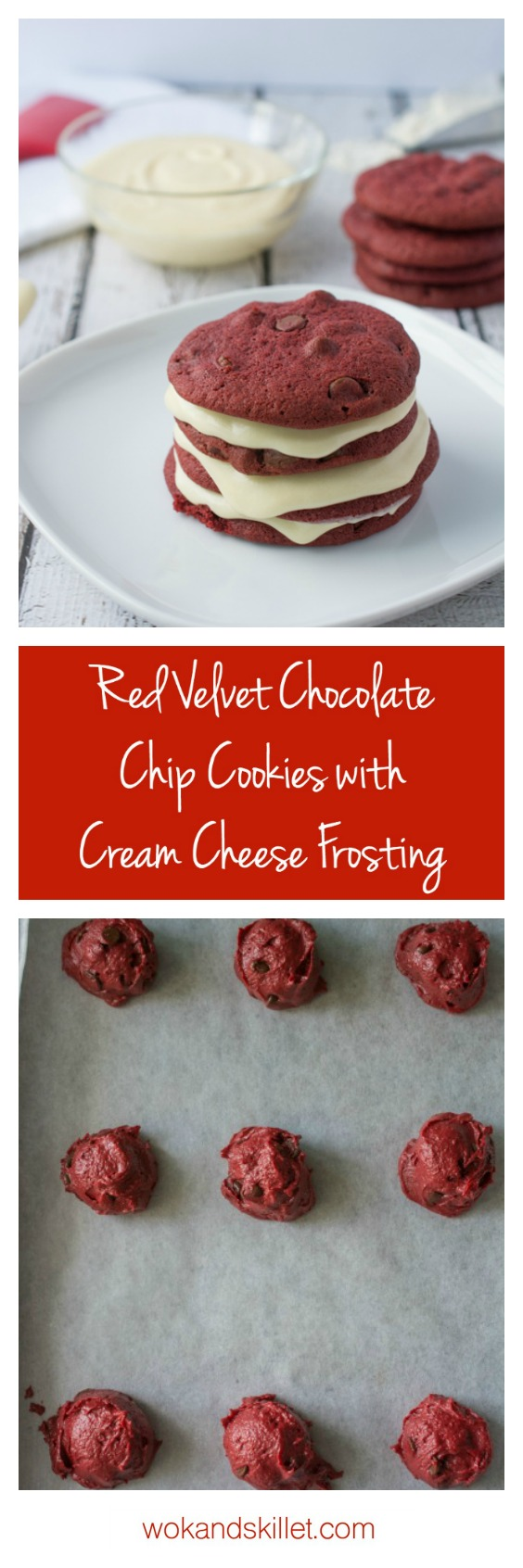 These Red Velvet Chocolate Chip Cookies are awesome enough on their own, but add the Cream Cheese Frosting and it takes the cookie to a whole new level of YUM!