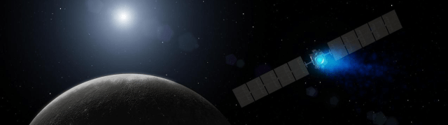 Artist's impression of the Dawn spacecraft approaching Ceres.