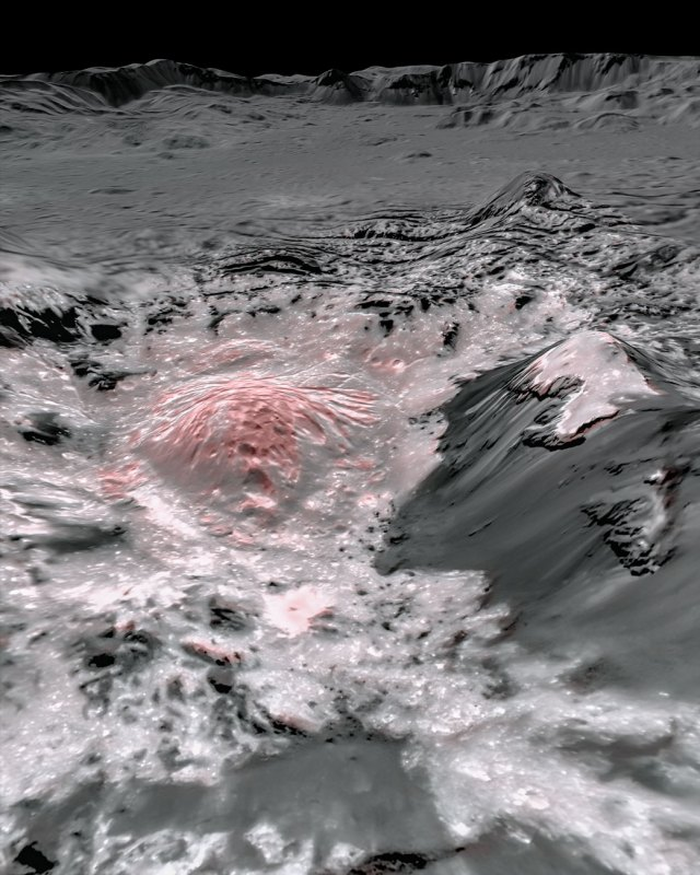 False colour image of salty deposits on Ceres, shown in red.