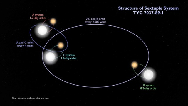 Structure of Eclipsing Binaries Sextuple System TYC 7037-89-1