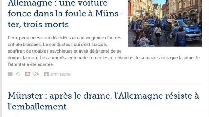 Artikel im Le Figaro zum Anschlag in Müsnter vom 7.4.2018